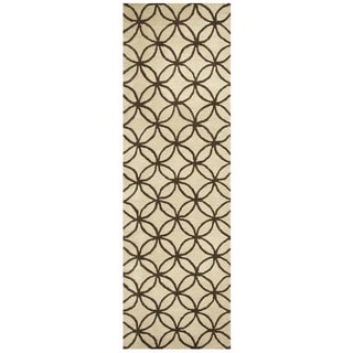 Hand-tufted Opus Khaki Wool Geometric Runner Area Rug (2'6 x 8')