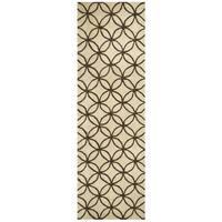 Hand-tufted Opus Khaki Wool Geometric Runner Area Rug (2'6 x 8')