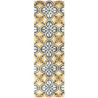 Hand-tufted Opus Yellow Wool Print Runner Area Rug (2'6 x 8')