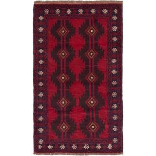 ecarpetgallery Hand-Kotted Bahor Red  Wool Rug (2'9 x 4'8)