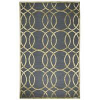 "Hand-tufted Monroe Grey Wool and Viscose Geometric/ Trellis Runner Area Rug (2'6 x 8') - 2'6"" x 8'"