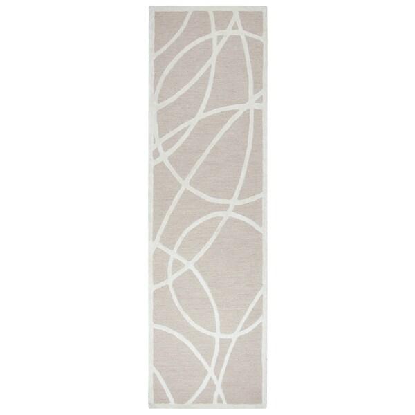 "Hand-tufted Monroe Brown Wool and Viscose Geometric/ Trellis Runner Area Rug (2'6 x 8') - 2'6"" x 8'"