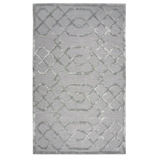 Hand-tufted Monroe Grey Wool and Viscose Geometric/ Trellis Runner Area Rug (2'6 x 8')
