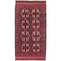 ecarpetgallery Hand-Kotted Bahor Blue, Red  Wool Rug (3'3 x 6'2)
