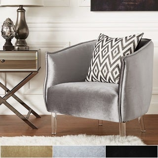 Vianne Velvet Curved Back Acrylic Leg Accent Chair by iNSPIRE Q Bold & Buy Gold Living Room Chairs Online at Overstock.com | Our Best ...