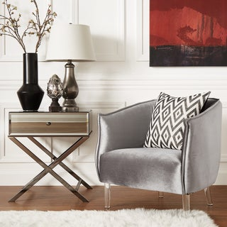 Vianne Velvet Curved Back Acrylic Leg Accent Chair by iNSPIRE Q Bold