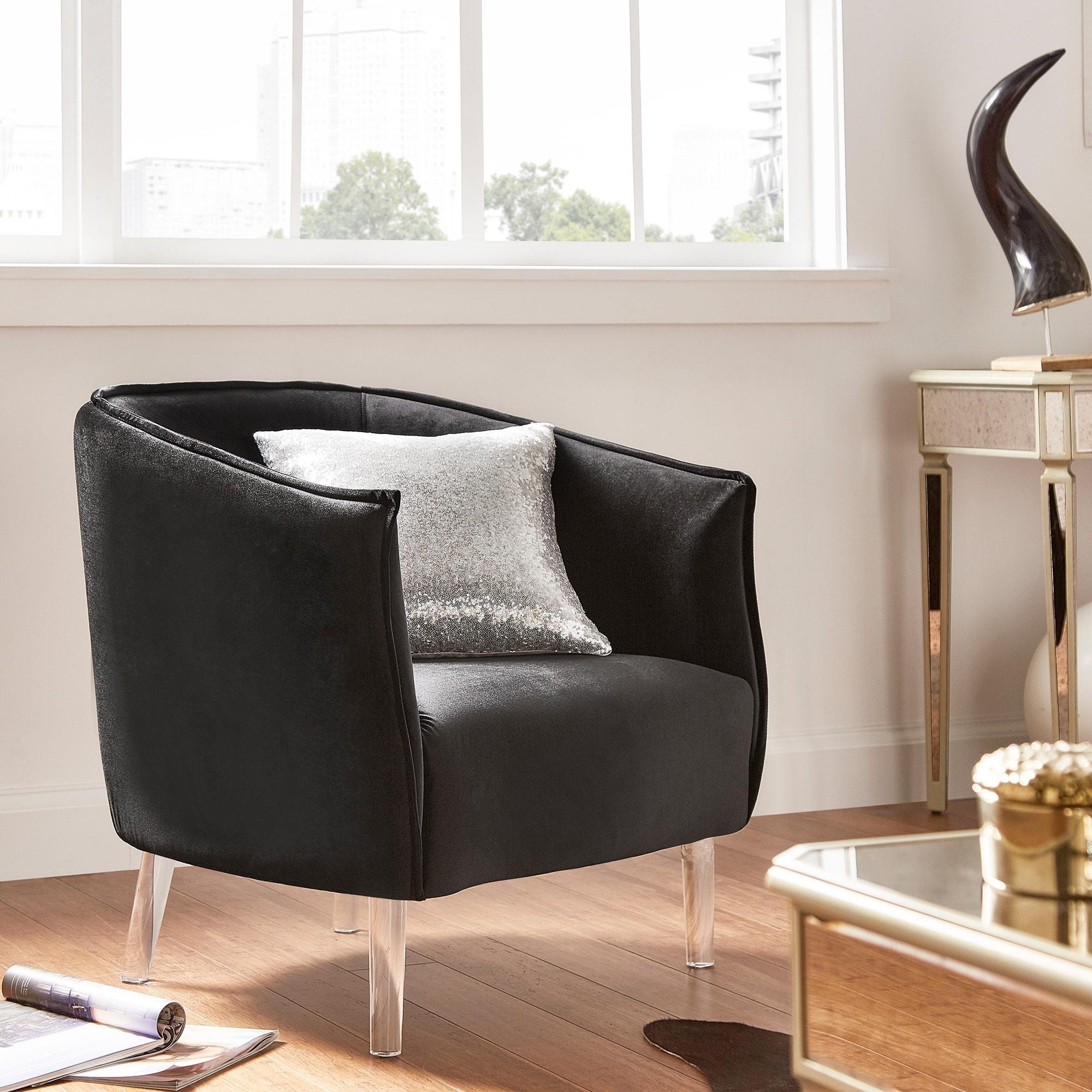 Image Is Loading Vianne Velvet Curved Back Acrylic Leg Accent Chair