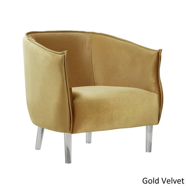 Vianne Velvet Curved Back Acrylic Leg Accent Chair By