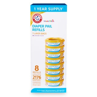 Munchkin Arm & Hammer Diaper Pail Refill Ring (2,176 Count) (Pack of 8)