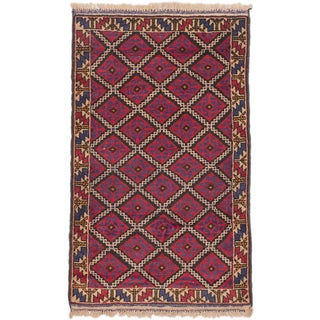 ecarpetgallery Hand-Kotted Teimani Blue, Red  Wool Rug (2'9 x 4'6)
