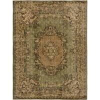 ecarpetgallery Hand-Kotted Antalya Vintage Brown, Green  Wool Rug (7'2 x 9'7)