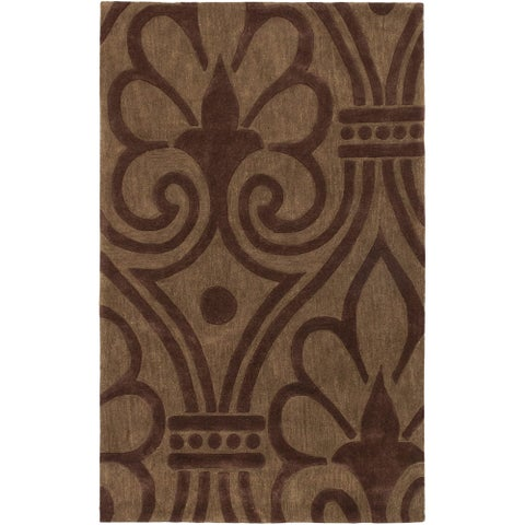 ecarpetgallery Hand-made Pierrot Brown Wool Rug (5'0 x 8'0)