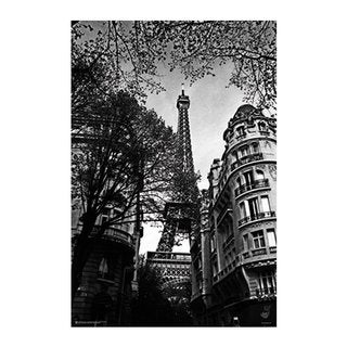 'Eiffel Tower' Black and White 24-inch x 36-inch Poster with Silver Metal Frame