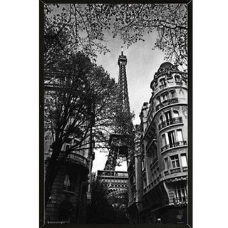 'Eiffel Tower' Black and White 24-inch x 36-inch Poster with Black Hardboard Frame