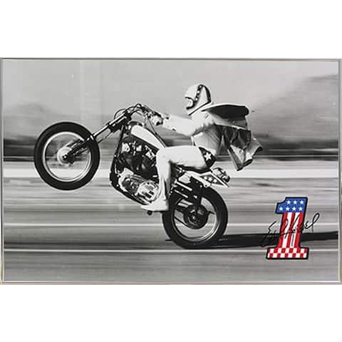 Evel Knievel - Wheelie 36x24 Poster with Silver Metal Frame I