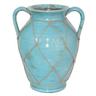 Benzara Blue Ceramic 12-inch Vase