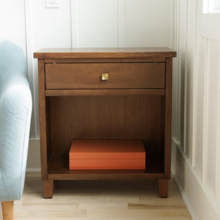 Posh Pollen Stratton Walnut Mid-Century Modern Wood Bed Side Table & Nightstand by Hives & Honey
