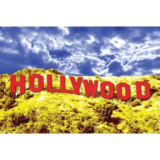 Hollywood Sign Red Silvertone Metal Frame 36x24 Poster