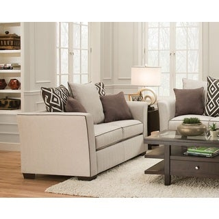 Stewart Traditional Beige Linen Loveseat With 5 Pillows