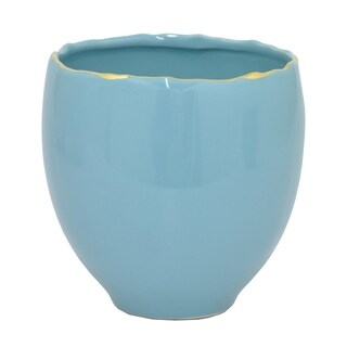 Benzara 62984 Blue/Golden Ceramic 5.75-inch Planter