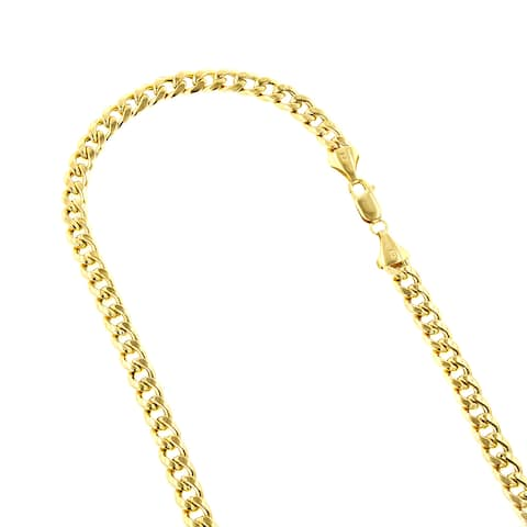 10k Yellow Gold 8mm Hollow Miami Cuban Link Chain Necklace or Bracelet with Lobster Claw Clasp