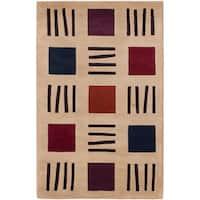 ecarpetgallery Hand-made Pierrot Ivory  Wool Rug (3'6 x 5'6)