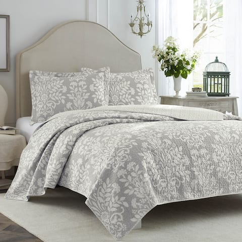 Laura Ashley Rowland Gray Quilt Set