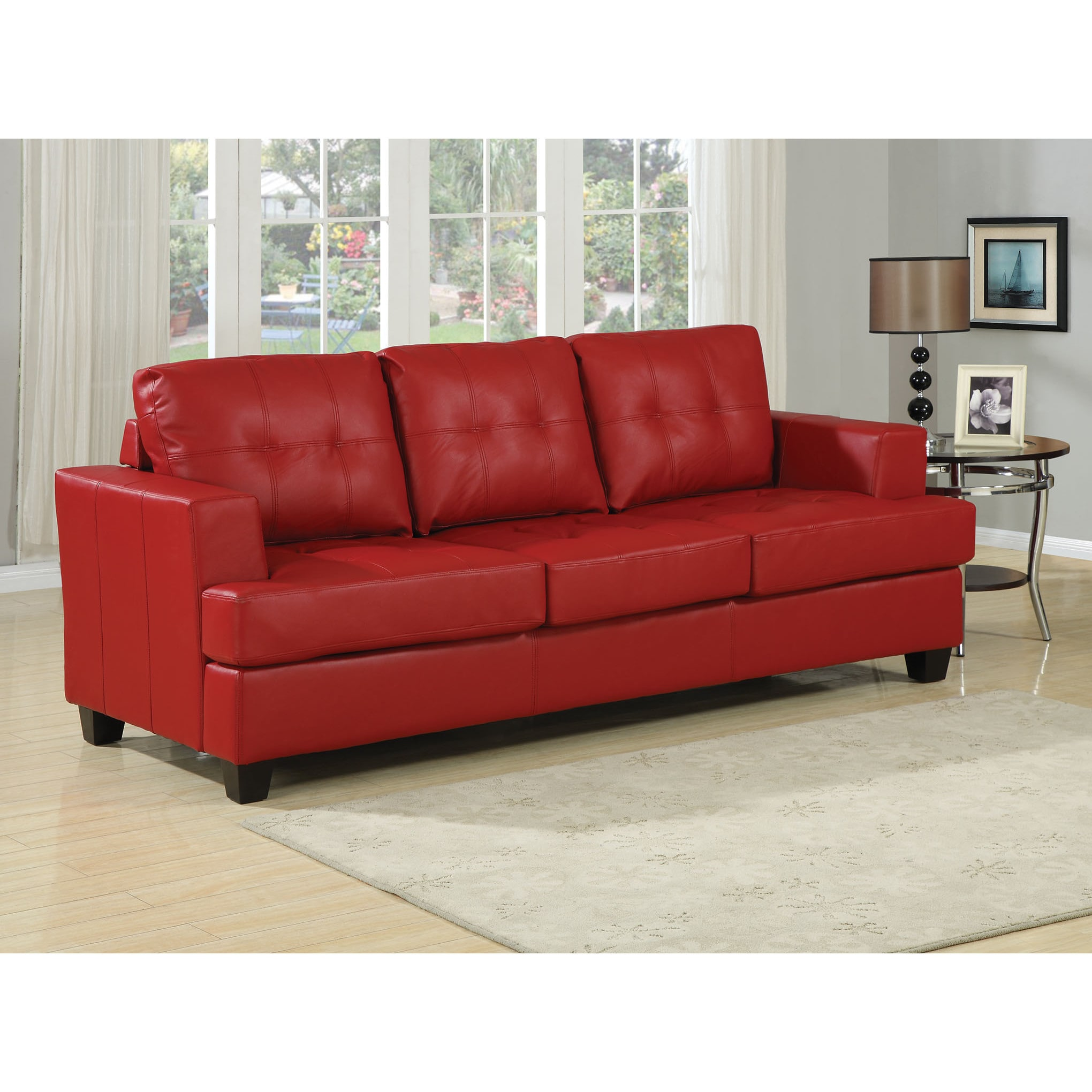 Platinum Traditional Leather Sleeper Sofa (Black) (Bonded...