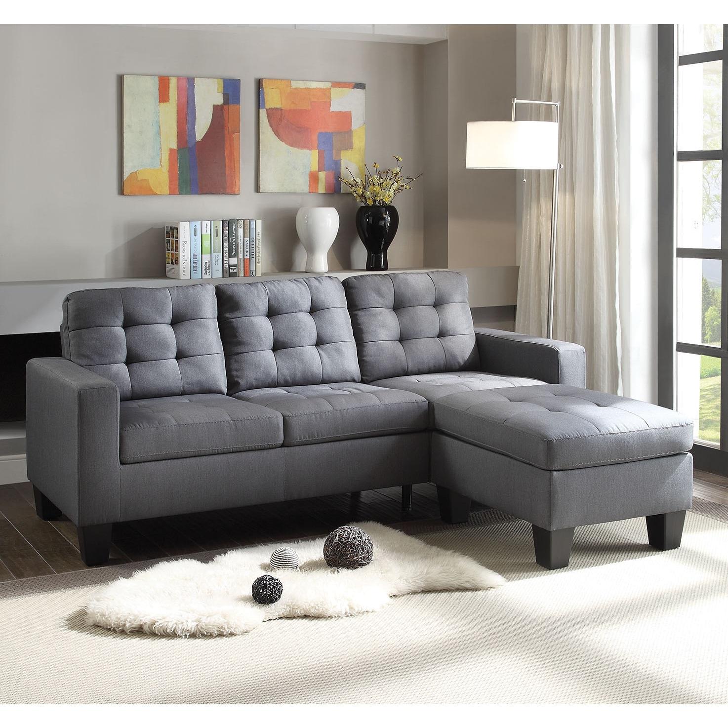 Grey Linen Sectional Sofa