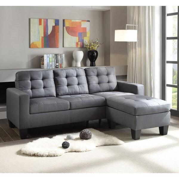 Earsom Reversible Grey Linen Sectional Sofa