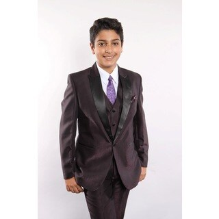 Tazio Boy's Plum 5-piece Suit