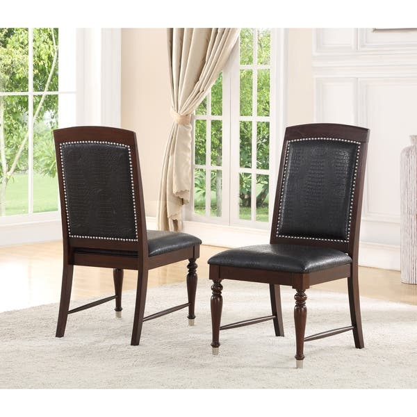 Astonishing Abbyson Delano Luxury Leather Dining Chair Set Of 2 Ibusinesslaw Wood Chair Design Ideas Ibusinesslaworg
