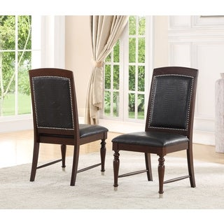 Abbyson Delano Luxury Leather Dining Chair (Set of 2)