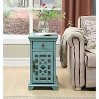 Somette 1-Drawer, 1-Door Textured Bayberry Blue Chairside Cabinet