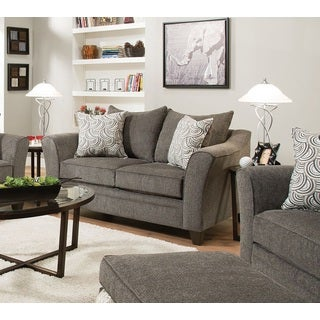 Albany Traditional Grey Loveseat With 2 Pillows