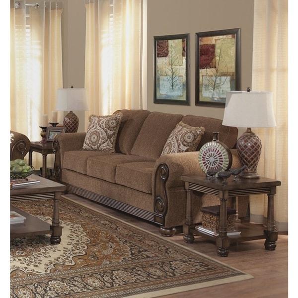 Pillows Traditional Sofa: Shop Emiko Traditional Brown Sofa With 2 Pillows