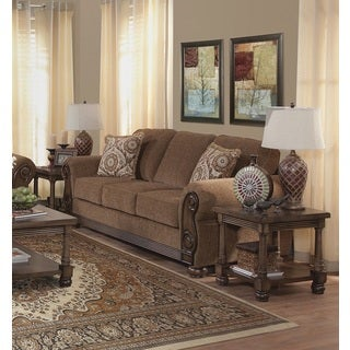 Emiko Traditional Brown Sofa with 2 Pillows