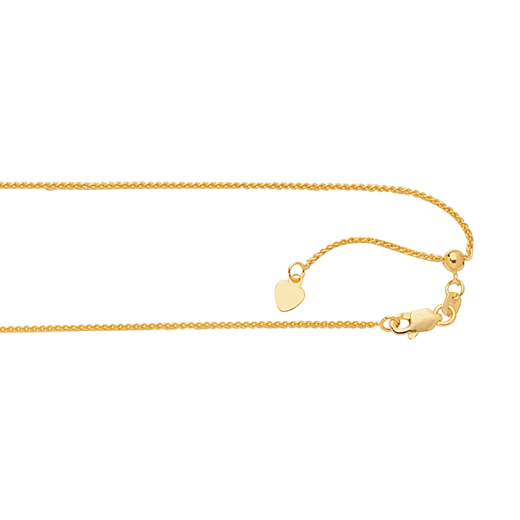 14K Two Tone Gold Heart Charm Pendant with 1.1mm Wheat Chain Necklace