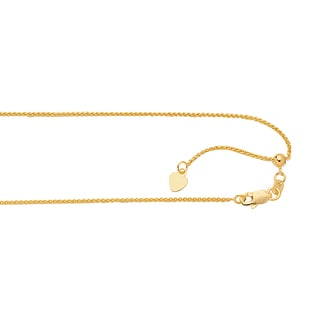 Luxurman 14k White or Yellow Solid Gold 1mm Adjustable Round Wheat Chain Necklace Heart Charm with Lobster Claw Clasp