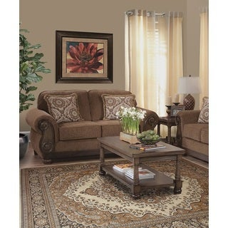 Emiko Traditional Brown Loveseat With 2 Pillows
