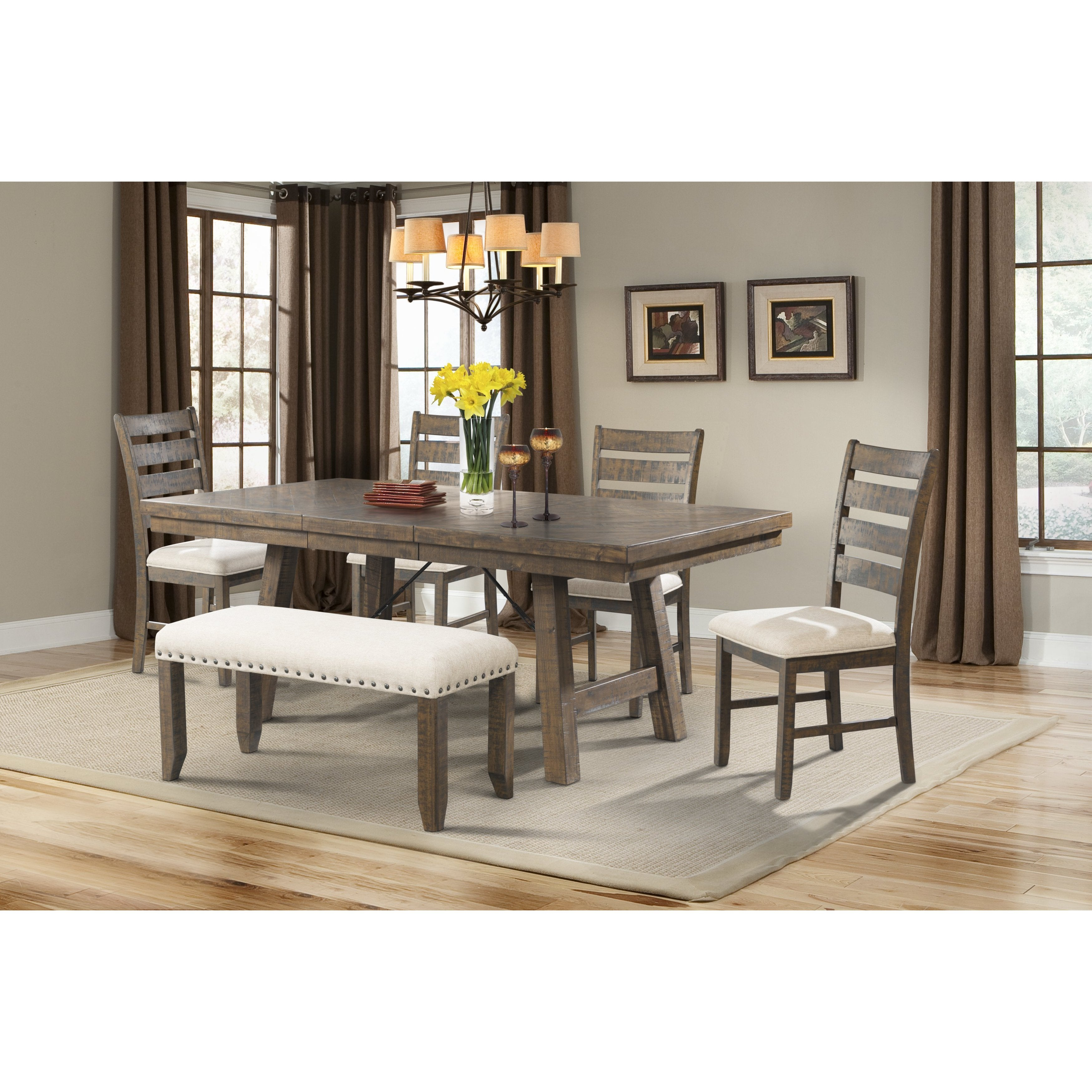 Picket House Furnishings Dex 7PC Dining Set- Table, 4 Lad...