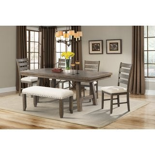 Picket House Furnishings Dex 7PC Dining Set- Table, 4 Ladder Dining Chairs & Dining Bench