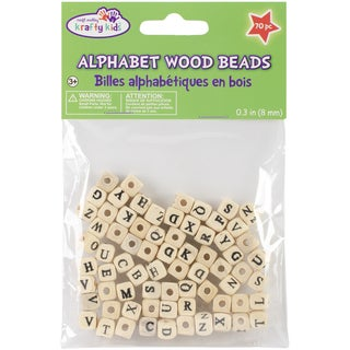 Wood Alphabet Beads 8mm 70/Pkg-Natural