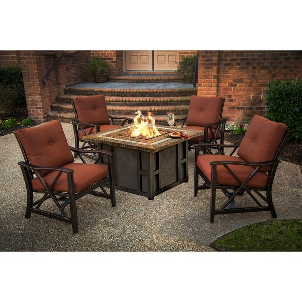 Marana 44-inch Square Gas Firepit Table Set with Four Red Cushioned Rocking Chairs