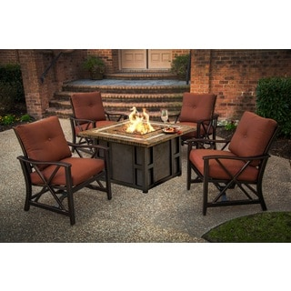 Wonderful Marana 44 Inch Square Gas Firepit Table Set With Four Red Cushioned Rocking  Chairs