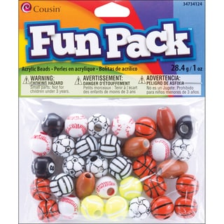 Fun Pack Acrylic Sports Beads 1oz-Assorted Balls
