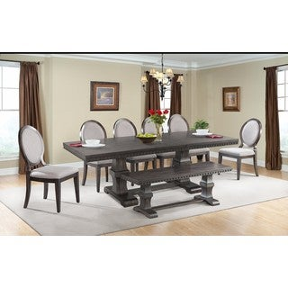 Picket House Furnishings Steele 8PC Dining Set- Table, 6 Round Fabric Chairs & Dining Bench
