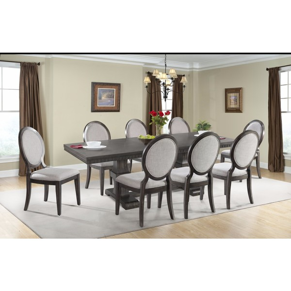 shop picket house furnishings steele 9pc dining set table 8 round fabric chairs free. Black Bedroom Furniture Sets. Home Design Ideas