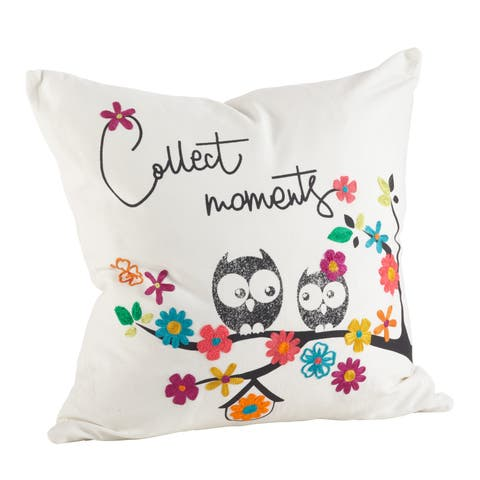 Colorful Embroidered Owl Print Down Filled Throw Pillow