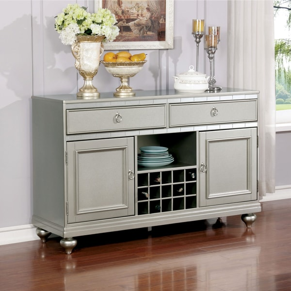 Furniture of America Glendel Glam Mirrored Multi-Storage Silver Grey Dining Server